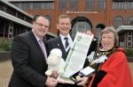 Blind Dave made Honorary Freeman of the Borough of Sandwell with Mayor Joyce Underhill and Leader of the Council DarrenCooper
